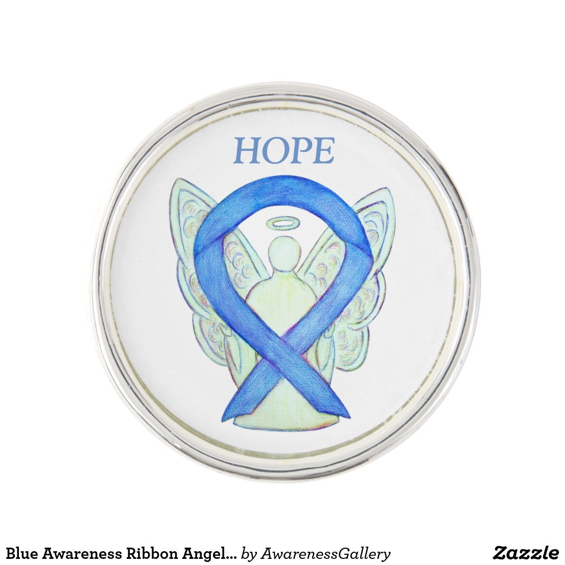 Blue Awareness Ribbon Angel Custom Lapel Pin