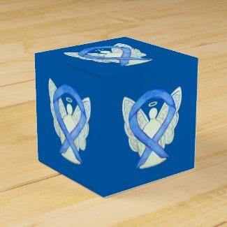 Blue Awareness Ribbon Angel Custom Party Favor Box