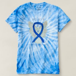 Blue Awareness Ribbon Angel Custom Shirts
