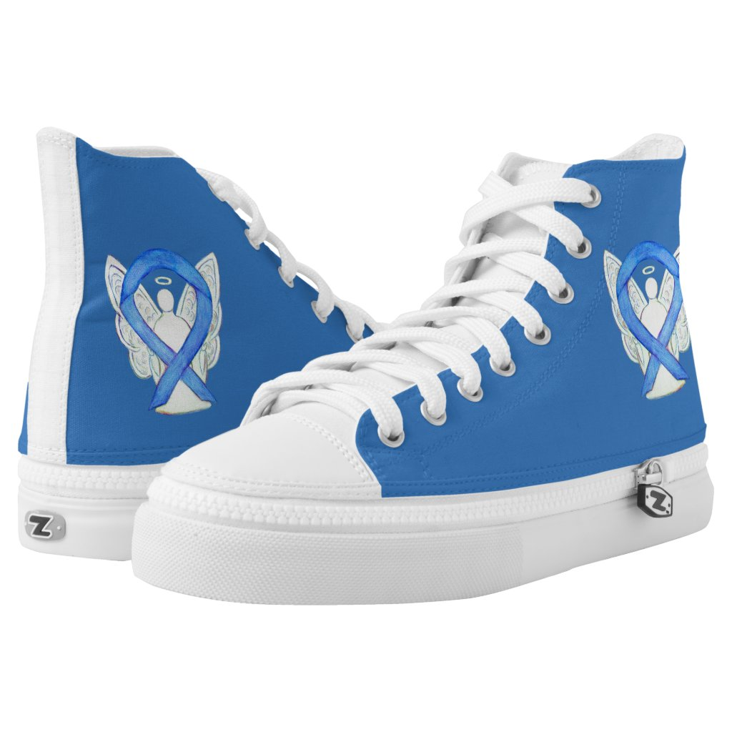 Blue Awareness Ribbon Angel Custom Shoes