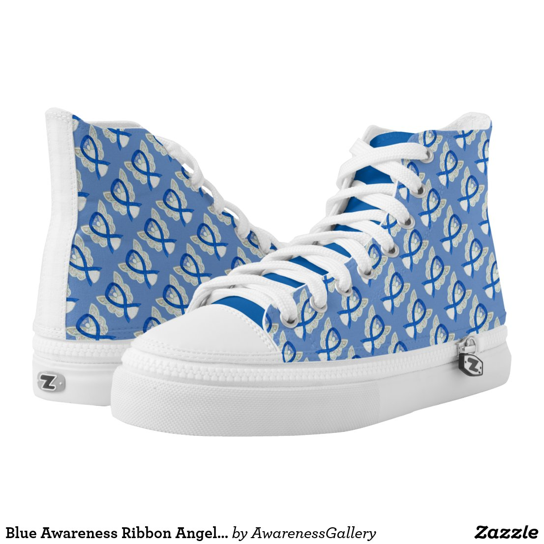 Blue Awareness Ribbon Angel Custom Sneakers