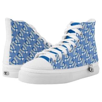 Blue Awareness Ribbon Angel Custom Sneakers Printed Shoes