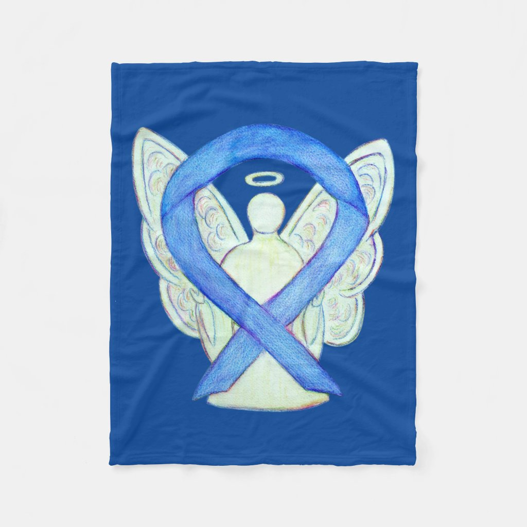 Blue Awareness Ribbon Angel Custom Soft Blanket