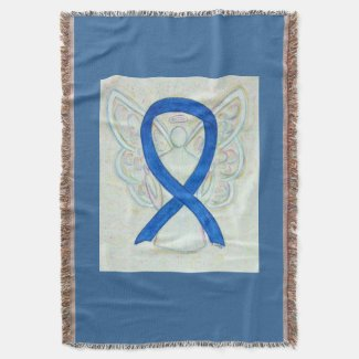 Blue Awareness Ribbon Angel Custom Throw Blanket
