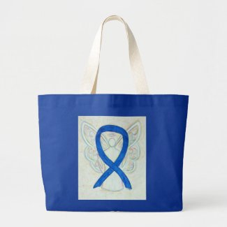Blue Awareness Ribbon Angel Custom Tote Bag