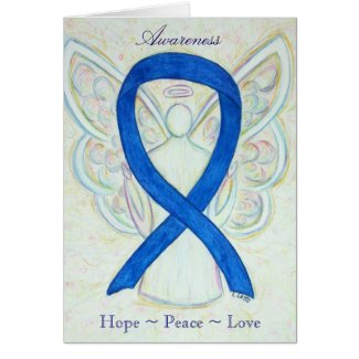 Blue Awareness Ribbon Angel Holiday Greeting Card