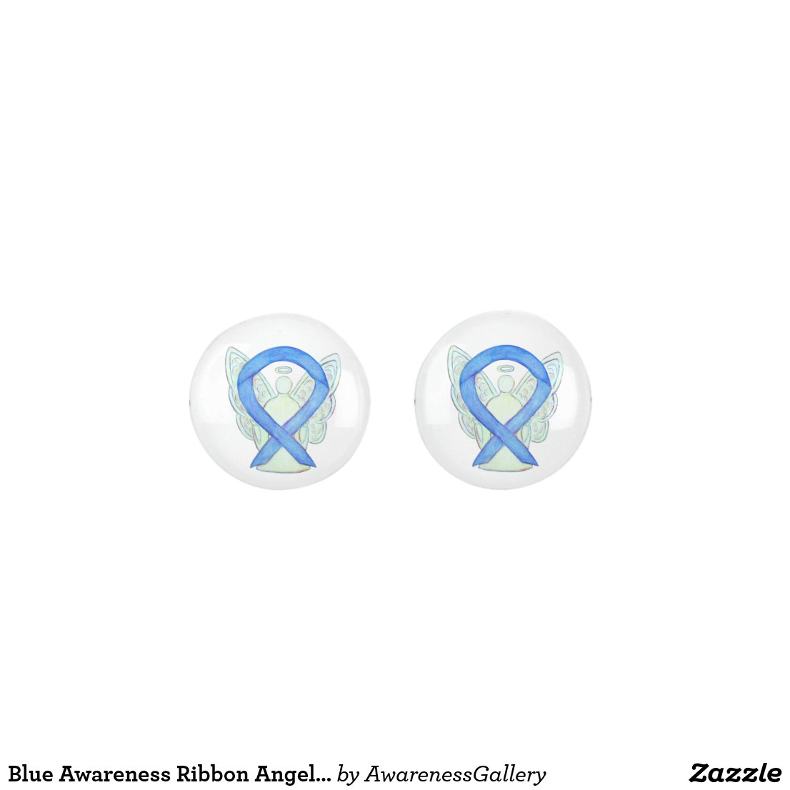 Blue Awareness Ribbon Angel Jewelry Earrings