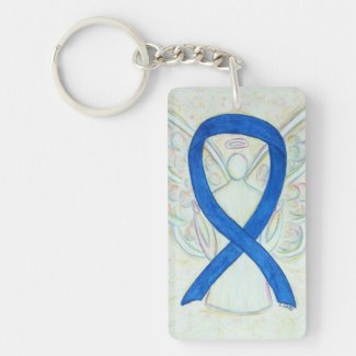 Blue Awareness Ribbon Angel Key chain
