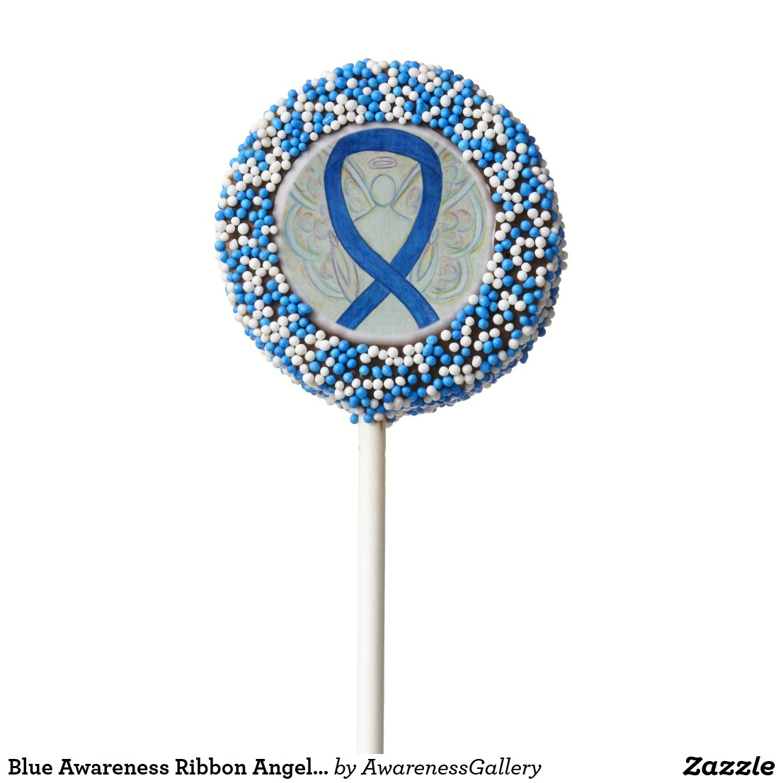 Blue Awareness Ribbon Angel Oreo Cookie Pops
