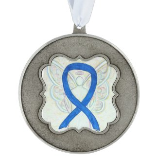 Blue Awareness Ribbon Angel Pendant Ornaments