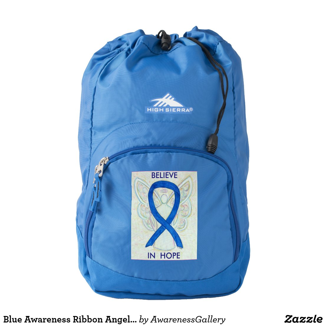 Blue Awareness Ribbon Angel Personalized Backpack