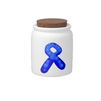 Blue Awareness Ribbon Candle Candy Jars
