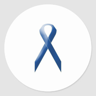 Blue awareness ribbon classic round sticker