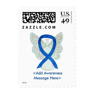 Blue Awareness Ribbon Custom Angel Postage Stamps
