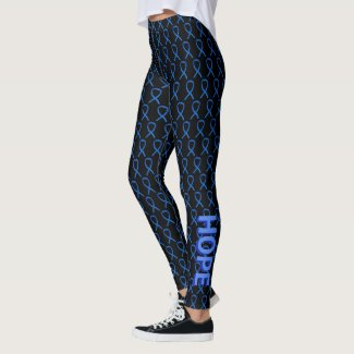 Blue Awareness Ribbon Custom Words Leggings