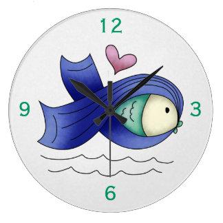 Blue Awareness Ribbon Fish Clock