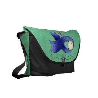 Blue Awareness Ribbon Fish & Heart Courier Bag