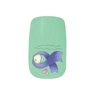 Blue Awareness Ribbon Fish Minx® Nail Wraps