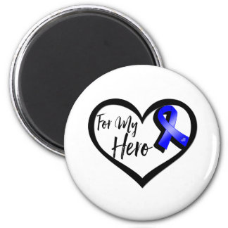 Blue Awareness Ribbon For My Hero 2 Inch Round Magnet