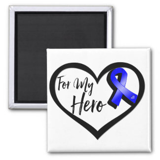 Blue Awareness Ribbon For My Hero 2 Inch Square Magnet