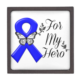 Blue Awareness Ribbon For My Hero Premium Keepsake Box