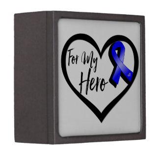 Blue Awareness Ribbon For My Hero Premium Trinket Box