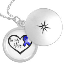 Blue Awareness Ribbon For My Hero Silver Plated Necklace