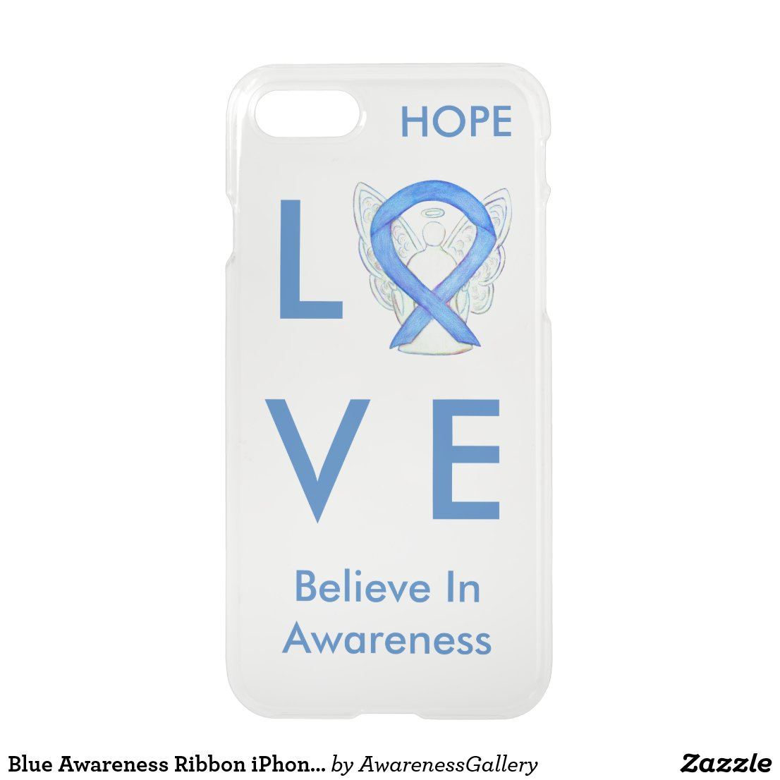 Blue Awareness Ribbon iPhone 7 Custom Angel Case