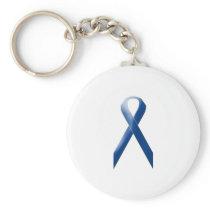 Blue awareness ribbon keychain