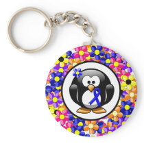 Blue Awareness Ribbon Penguin Keychain