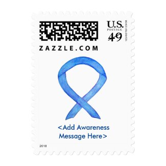 Blue Awareness Ribbon Personalized Postage Stamp