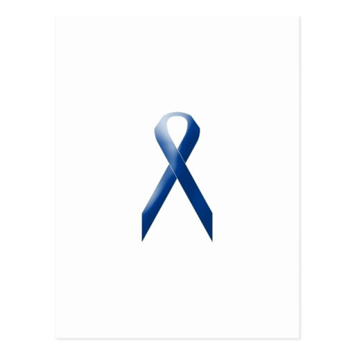 Blue awareness ribbon postcard