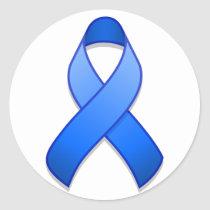 Blue Awareness Ribbon Round Sticker
