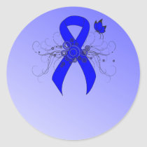 Blue Awareness Ribbon with Butterfly Classic Round Sticker