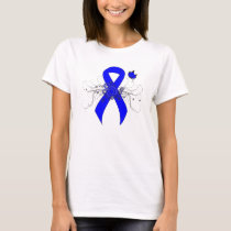 Blue Awareness Ribbon with Butterfly T-Shirt