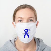 Blue Awareness Ribbon with Butterfly White Cotton Face Mask