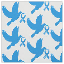 Blue Awareness Ribbon with Dove of Hope Fabric