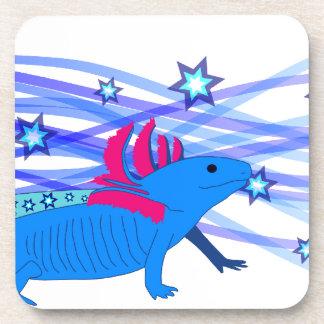 Blue Axolotl with stars Drink Coaster