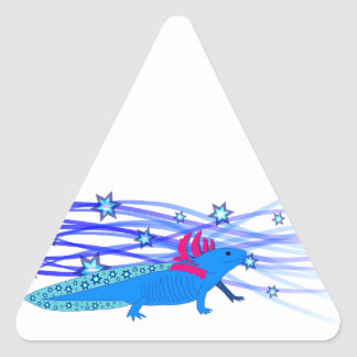 Blue Axolotl with stars Triangle Sticker