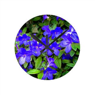 Blue Azalea Flowers Round Clocks