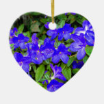 Blue Azalea Flowers Double-Sided Heart Ceramic Christmas Ornament
