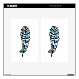 Blue Aztec Feather Kindle Fire Decals