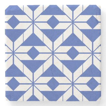 Aztec Themed Blue Aztec Geometric Design Marble Stone Coaster