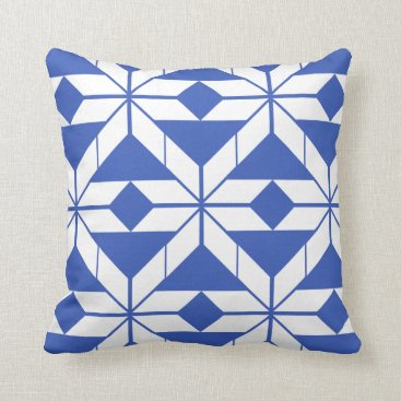 Aztec Themed Blue Aztec Geometric Design Throw Cushion