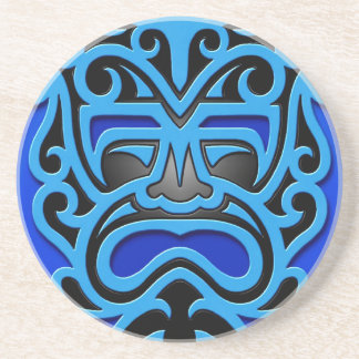 Blue Aztec Mask Beverage Coasters