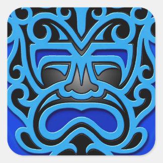 Blue Aztec Mask Square Sticker
