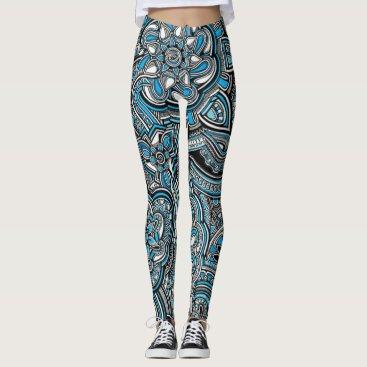Aztec Themed Blue aztec zen doodle pattern leggings