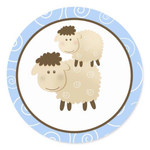 Blue Baa Baa Sheep Envelope Seals / Toppers 20