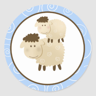 Blue Baa Baa Sheep Envelope Seals / Toppers 20 Classic Round Sticker