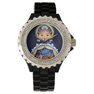 Blue Babushka Matryoshka Russian Doll Watch